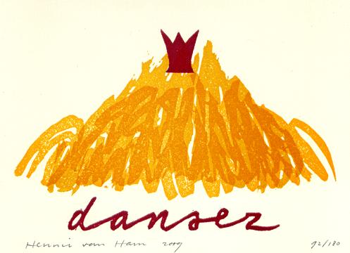 Linosnede 'dansez' 2009 Hennie van Ham
