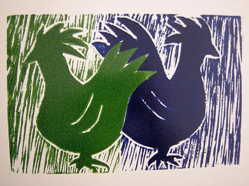twee kippen - linosnede 1 drukgang%2C 2 kleuren - juni 2009