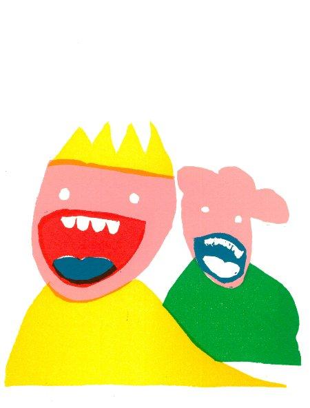 lelijke broertjes - linosnede 2016 - Henny van Ham
