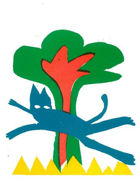 de blauwe kat - linosnede 2016 - Henny van Ham