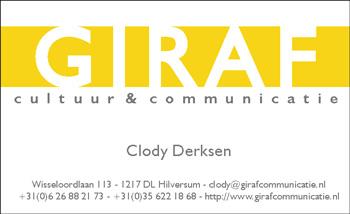 Giraf - visitekaartje Clody Derksen